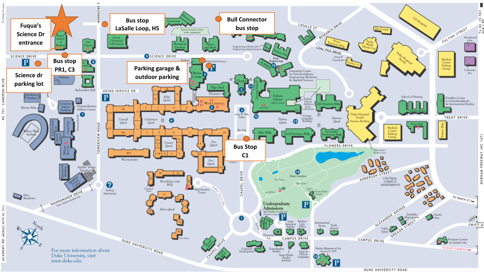 Duke University West Campus Map | autobedrijfmaatje on